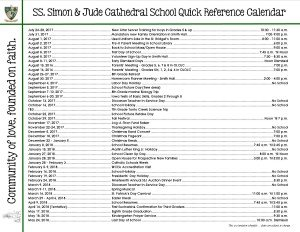 2017-18 Quick Reference Calendar bold