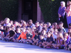 The students, wearing their best Suns colors, welcomed Jeff Hornacek at an assembly after the Breakfast