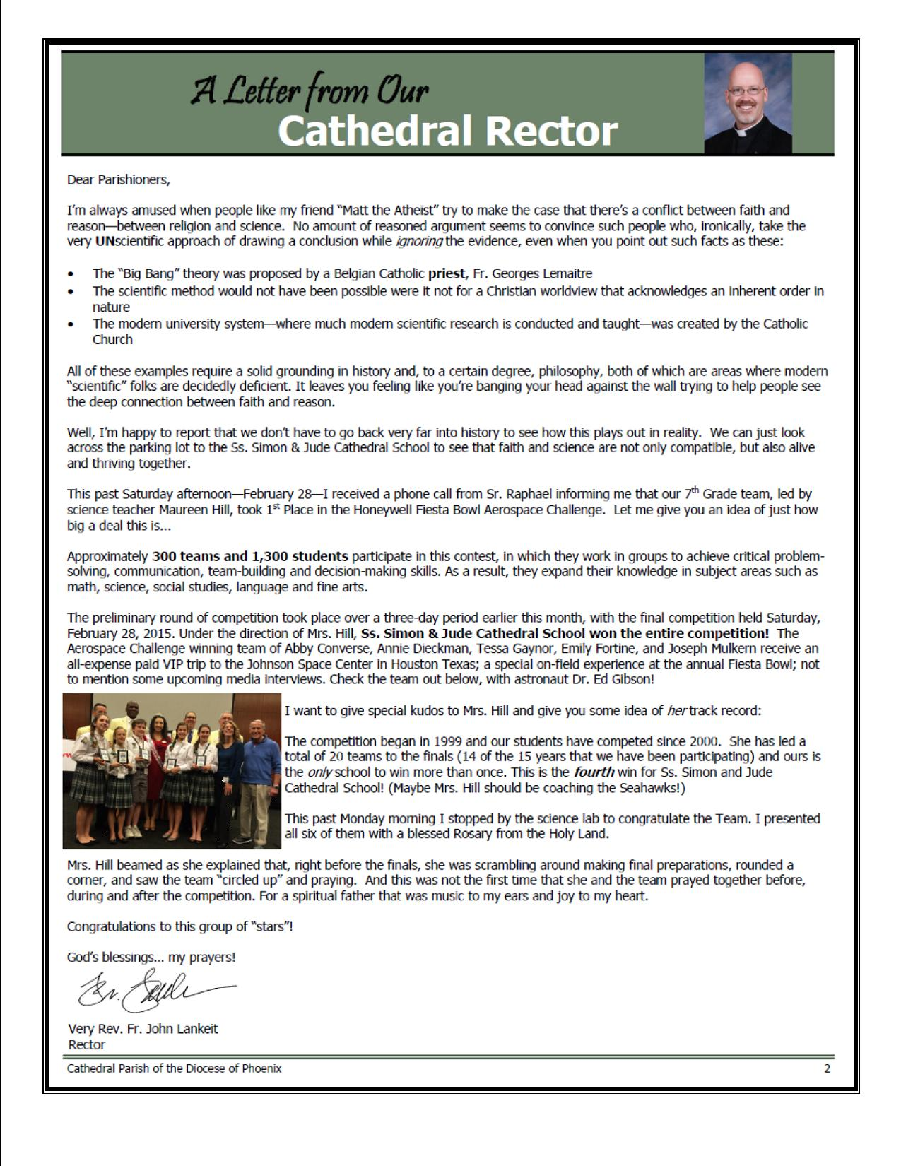 A Letter from Our Cathedral Rector | Ss  Simon & Jude School