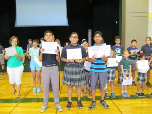 The winners for Grades 6-8  (from left to right)  3rd place: Andrew Acunin, Room 13 - 363 points!  2nd place: Gabrielle Soriano, Room 12 - 419 points!  1st place: Joseph Olakkengil, Room 14 - 434 points!!!  Awesome job, SUPERSTAR Readers!!