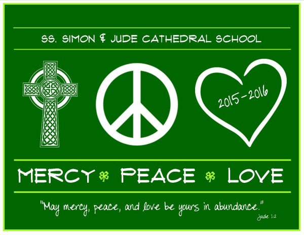 T-SHIRT PEACE LOVE MERCY GREEN