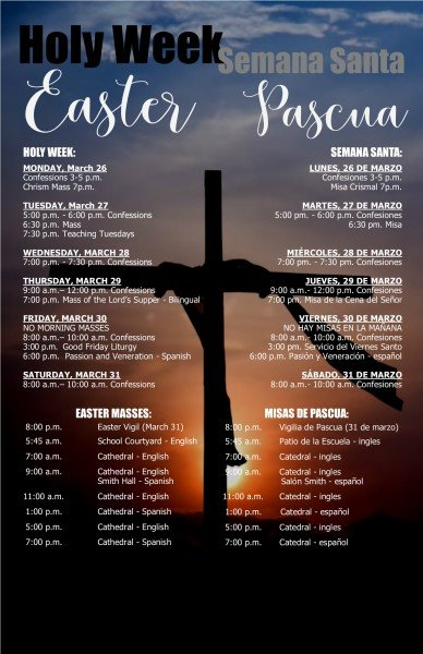 Holy Week Easter schedue sign 2018